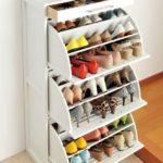 illustartion d un meuble de rangement chaussure blanc