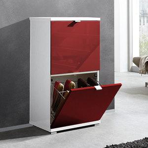 photo d'un meuble a chaussure rouge