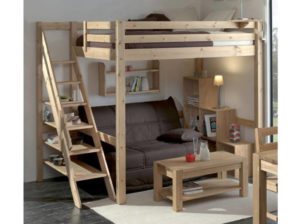 photo d un lit mezzanine en pin