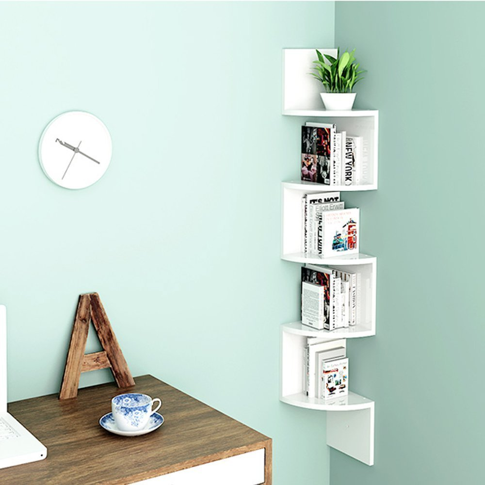 etagere d'angle bois blanc