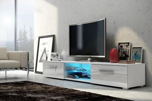 Meuble tv haut de gamme blanc for Meuble tv blanc haut