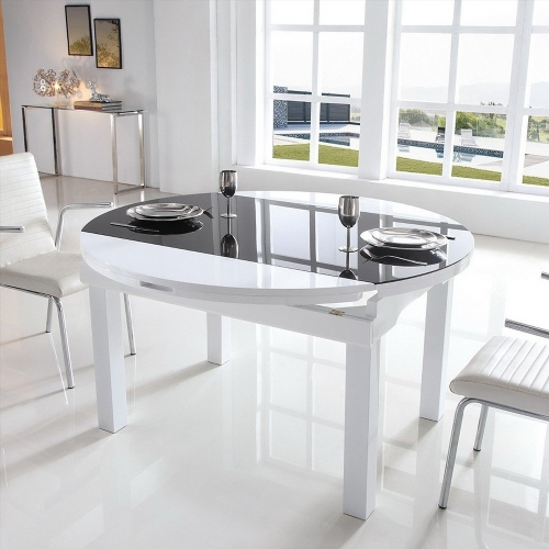 table a manger ronde extensible. Black Bedroom Furniture Sets. Home Design Ideas