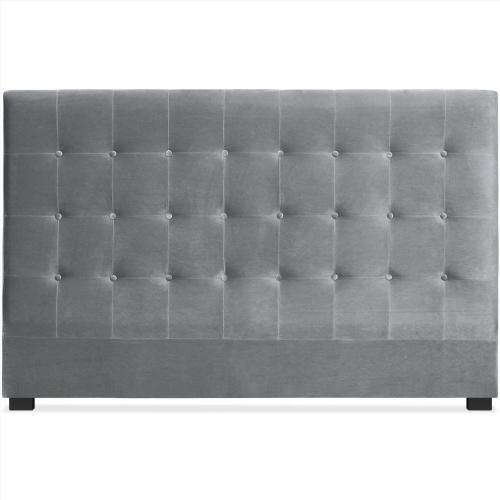 Tete de lit velours gris - Tete de lit gris argent ...